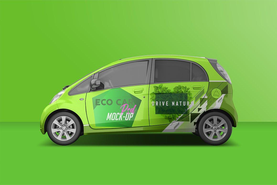逼真电动小汽车车身广告设计PSD样机 Realistic Electric Car PSD Mockup插图1