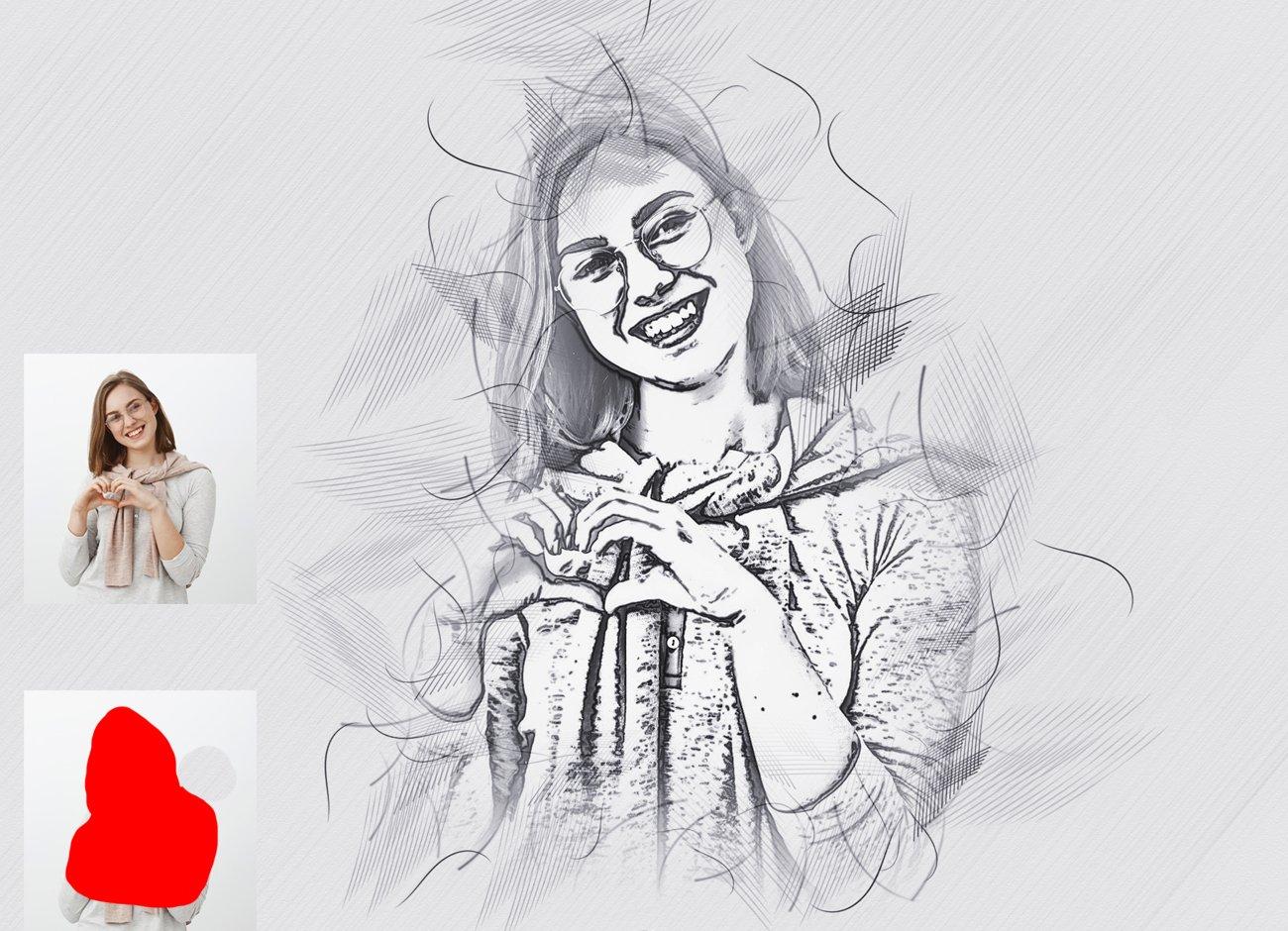 铅笔手绘素描效果照片处理特效PS动作模板 Hand Drawing Sketch Photoshop Action插图2