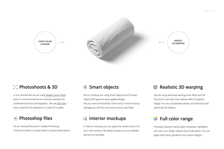 凸起面料布料印花图案设计展示贴图PSD样机模板合集 Bullet Fabric Mockup Set (14/FFv.11)插图1