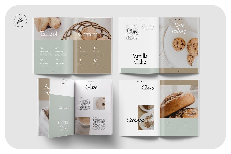 24页食品美食食谱画册排版设计INDD模板素材 Piebble Food Recipe Cookbook插图1