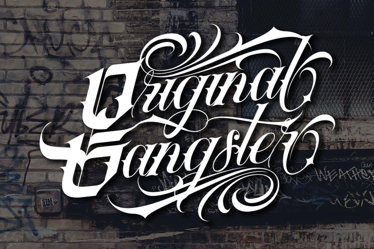 复古部落风品牌海报纹身图案设计装饰英文字体素材 Tribal Font插图4