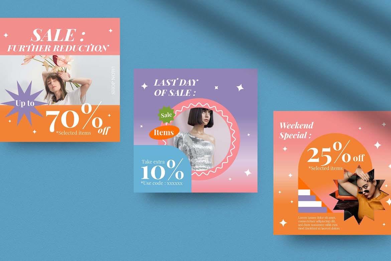 虹彩渐变背景品牌推广新媒体电商海报设计PSD模板合集 Cotton Rainbow Instagram Set插图1