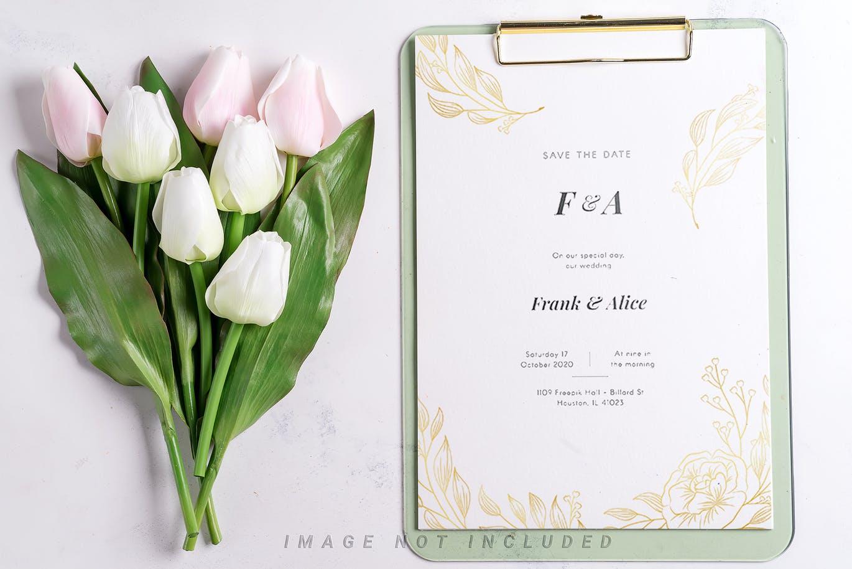 11个优雅婚礼印刷品场景样机PSD模板素材 Tulips Scene Mockup On Stone插图11