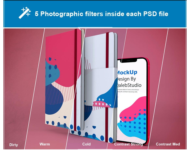 带笔记本iPhone 12屏幕演示样机模板素材 NoteBook & iPhone 12插图1