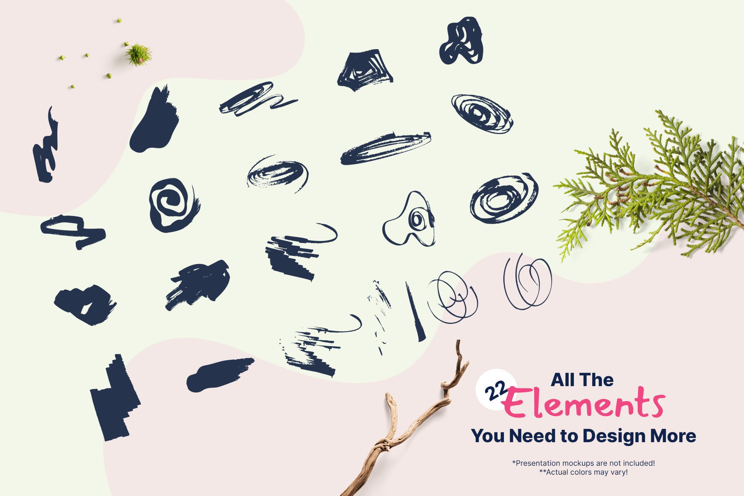 粗糙水墨毛笔笔触纹理海报设计背景图片矢量设计素材 Distressed Vector Backgrounds插图1