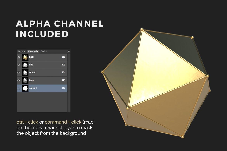35款抽象金色3D几何图形背景图片PS设计素材 3D Golden Shapes Volume 1插图1