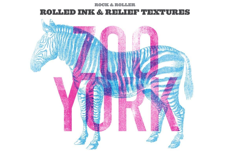 潮流复古做旧墨水套印浮雕效果标题海报设计PS素材套件 Rock And Roller Letterpress Kit插图1
