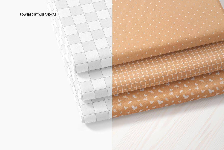 折叠织物面料布料印花图案设计展示样机 Cotton Fabric Mockup 01插图1
