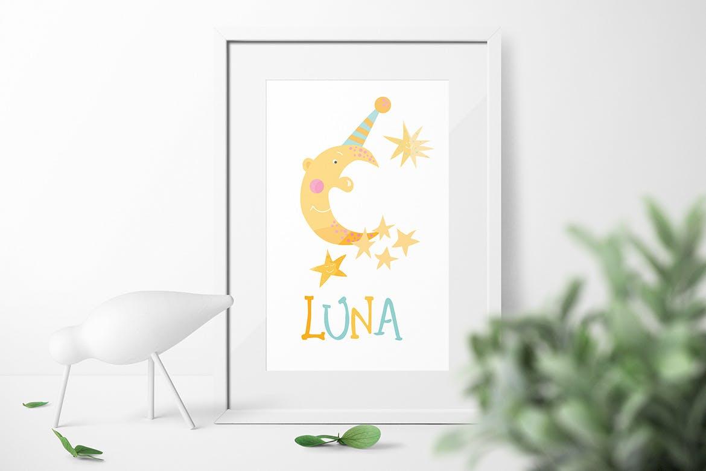 卡通太阳月亮星星印花图案设计矢量素材 Sun Stars and Moon插图2