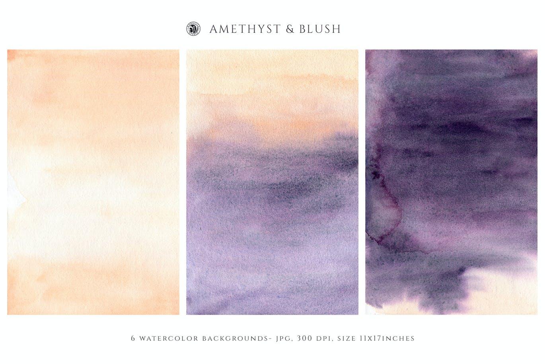 腮红水彩纹理背景图片设计素材 Watercolor Backgrounds – Blush插图1
