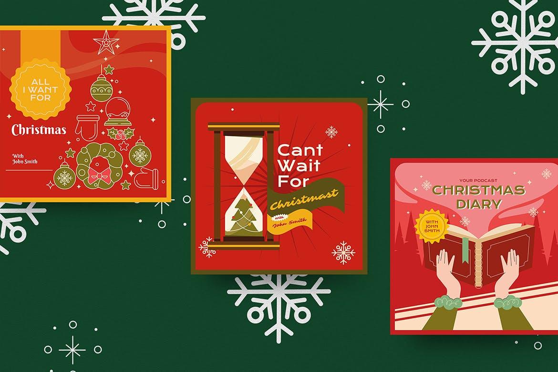 圣诞节主题品牌促销新媒体电商海报素材 Christmas Podcast Illustration插图1