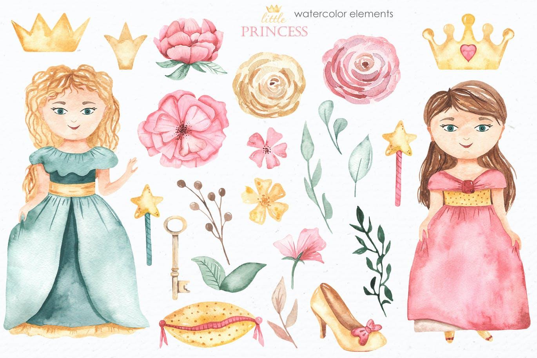 卡通女孩马车城堡彩虹手绘水彩画图片设计素材 Little Princess Watercolor插图1