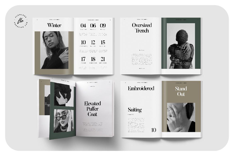 40页时尚服装作品集目录画册设计INDD模板 Forest Editorial Fashion Lookbook插图1