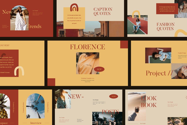 优雅暖色调女士服装摄影作品集设计演示文稿模板素材 FLORENCE Keynote Template插图1