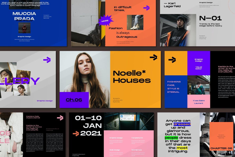 潮流炫彩服装作品集演示文稿设计模板 Noelle Powerpoint Template插图1