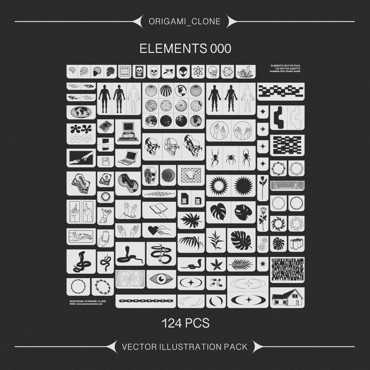 [单独购买] 124款潮流贴纸图标徽标Logo设计矢量素材套装 Studio Innate – Elements 000插图3