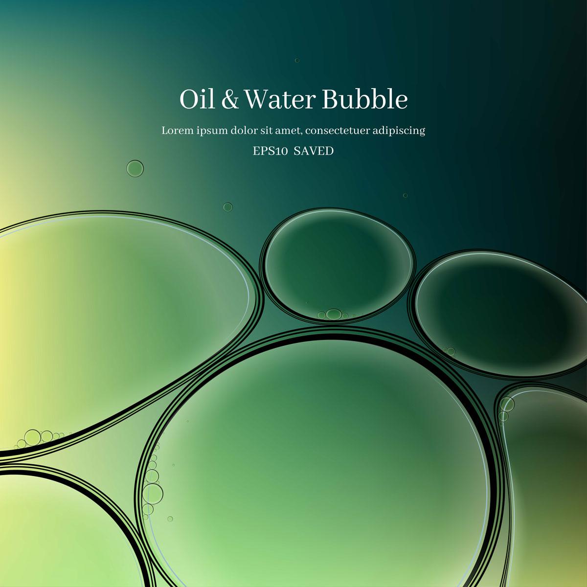 14款油脂液体水滴气泡海报设计AI矢量素材 Water Drop Bubble Vector Material插图2