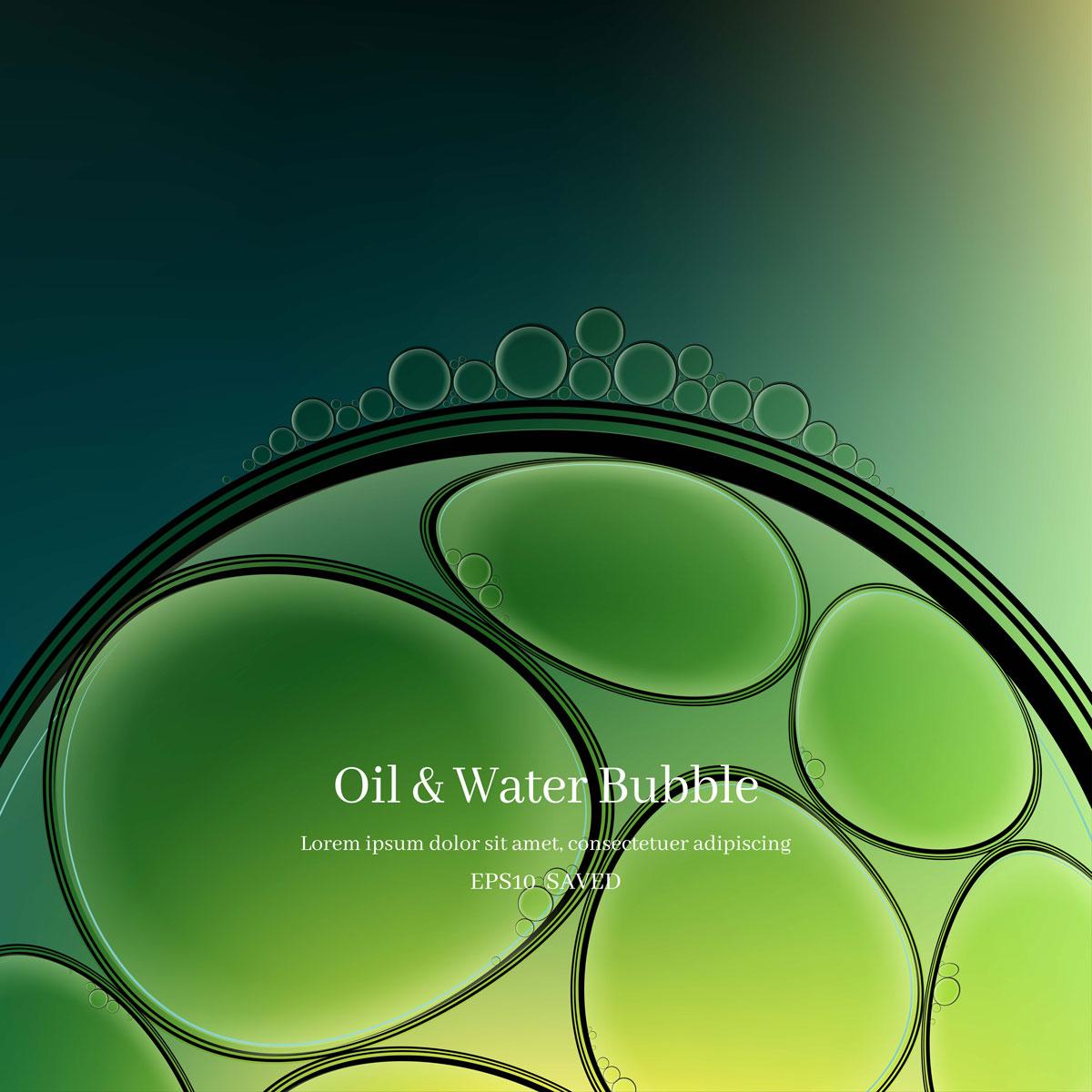 14款油脂液体水滴气泡海报设计AI矢量素材 Water Drop Bubble Vector Material插图3