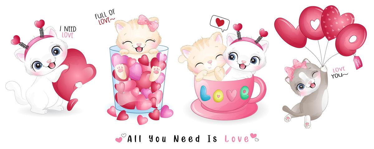 情人节主题卡通动物心形矢量设计素材 Cute Funny Doodle Animals For Valentine's Day Illustration插图1