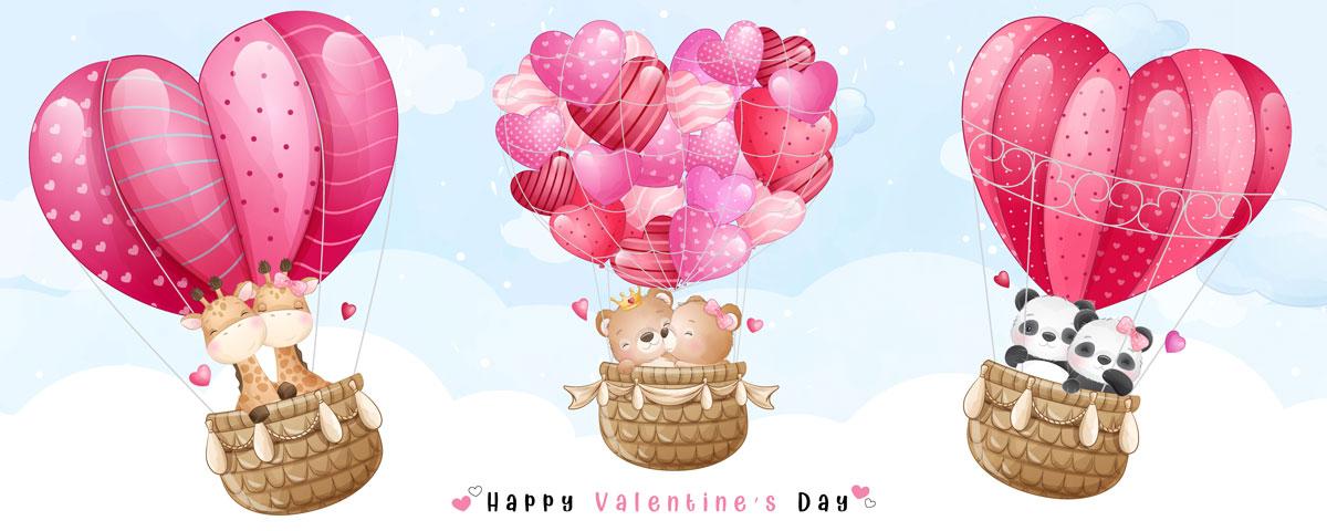 情人节主题卡通动物心形矢量设计素材 Cute Funny Doodle Animals For Valentine's Day Illustration插图3