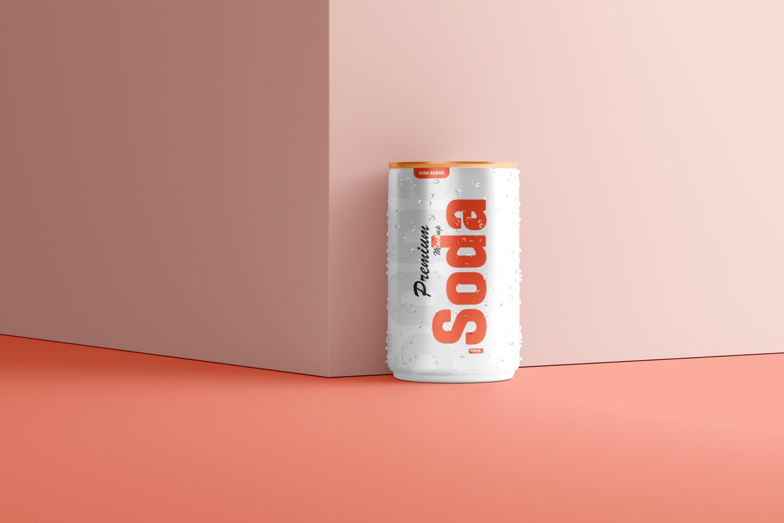 10款150毫升苏打汽水锡罐易拉罐设计展示样机 150ml Soda Can Mockup插图6