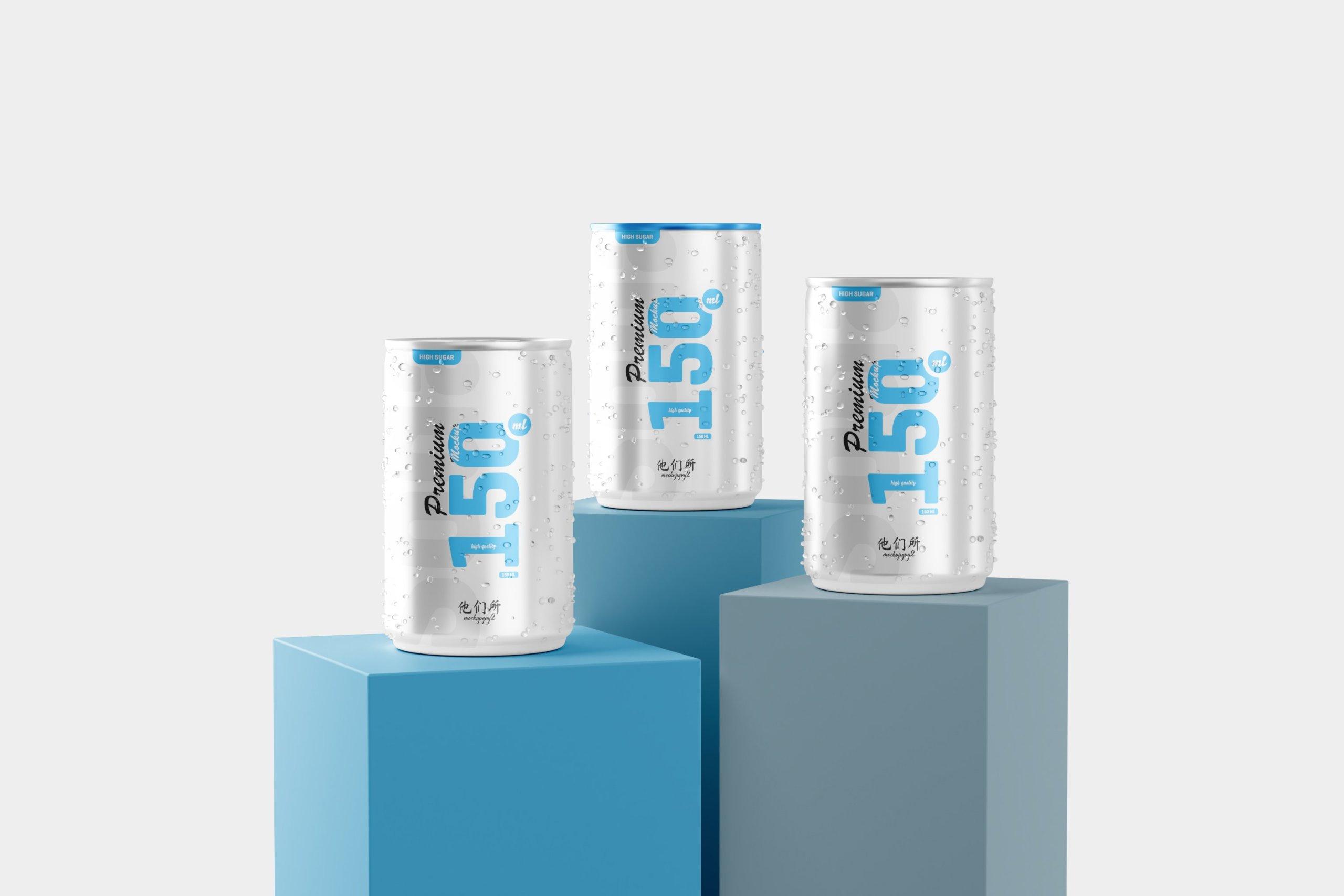 10款150毫升苏打汽水锡罐易拉罐设计展示样机 150ml Soda Can Mockup插图8