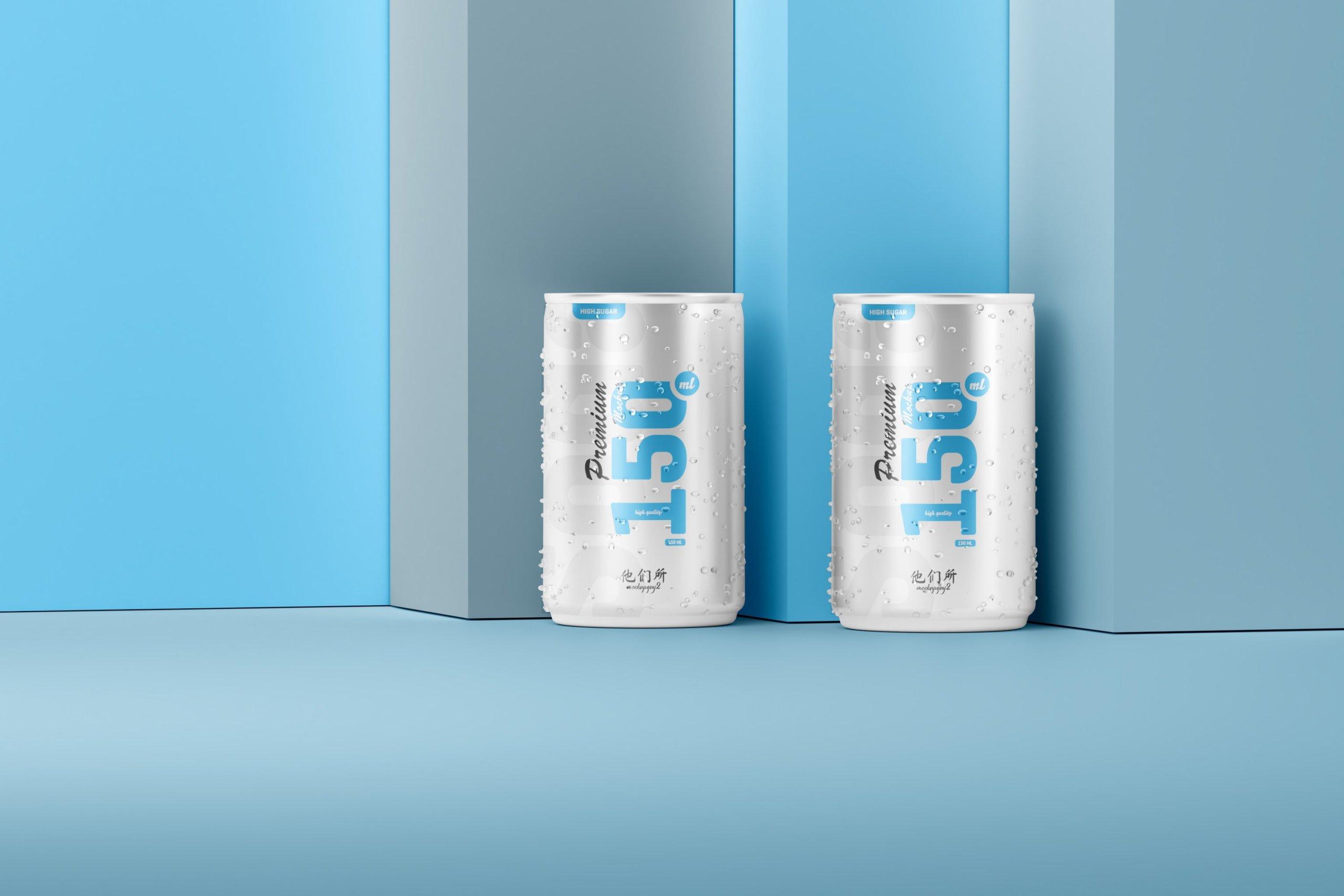 10款150毫升苏打汽水锡罐易拉罐设计展示样机 150ml Soda Can Mockup插图9