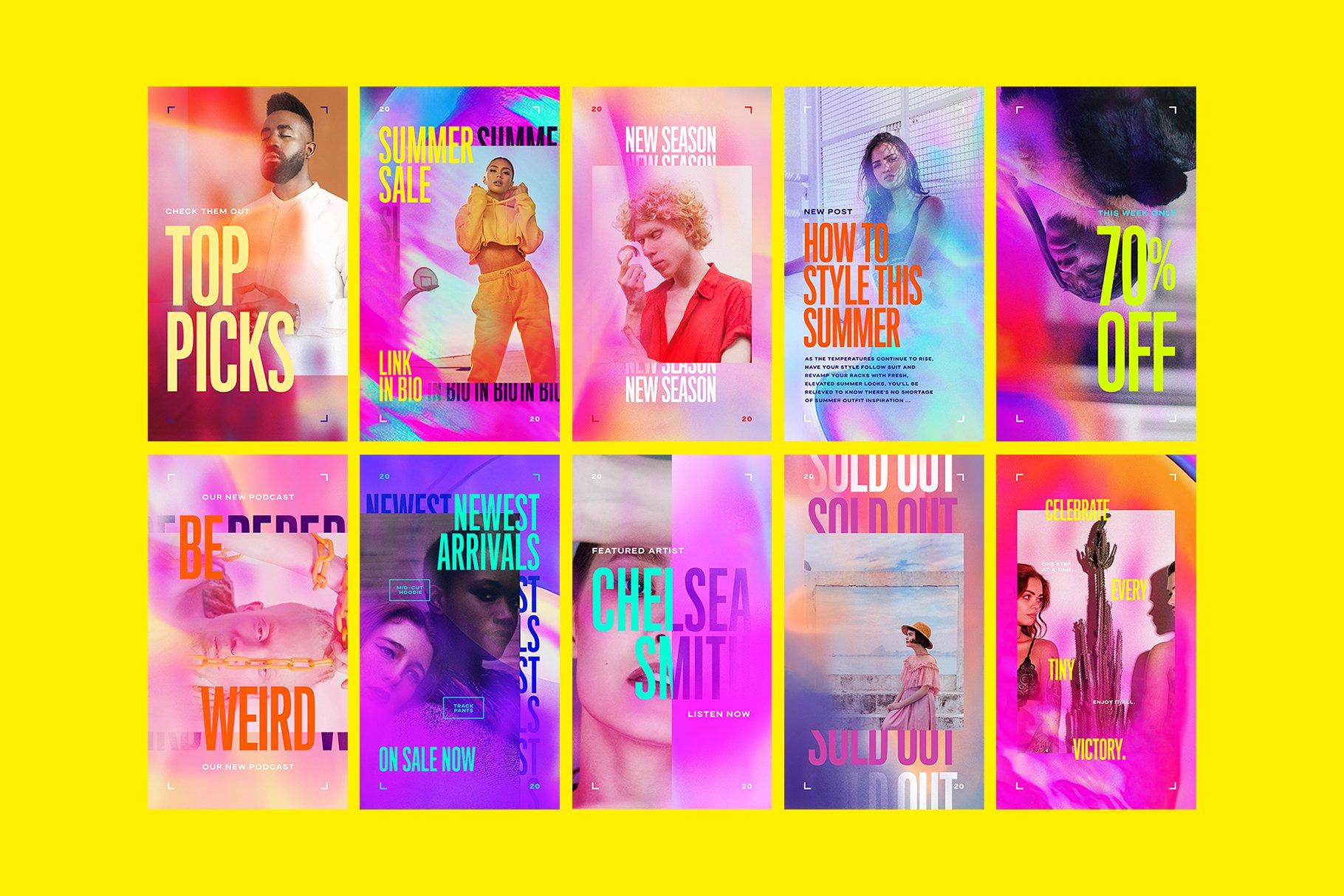 [单独购买] 潮流霓虹效果品牌推广新媒体电商海报设计模板PS素材 Neogram – Neon Instagram Stories插图2