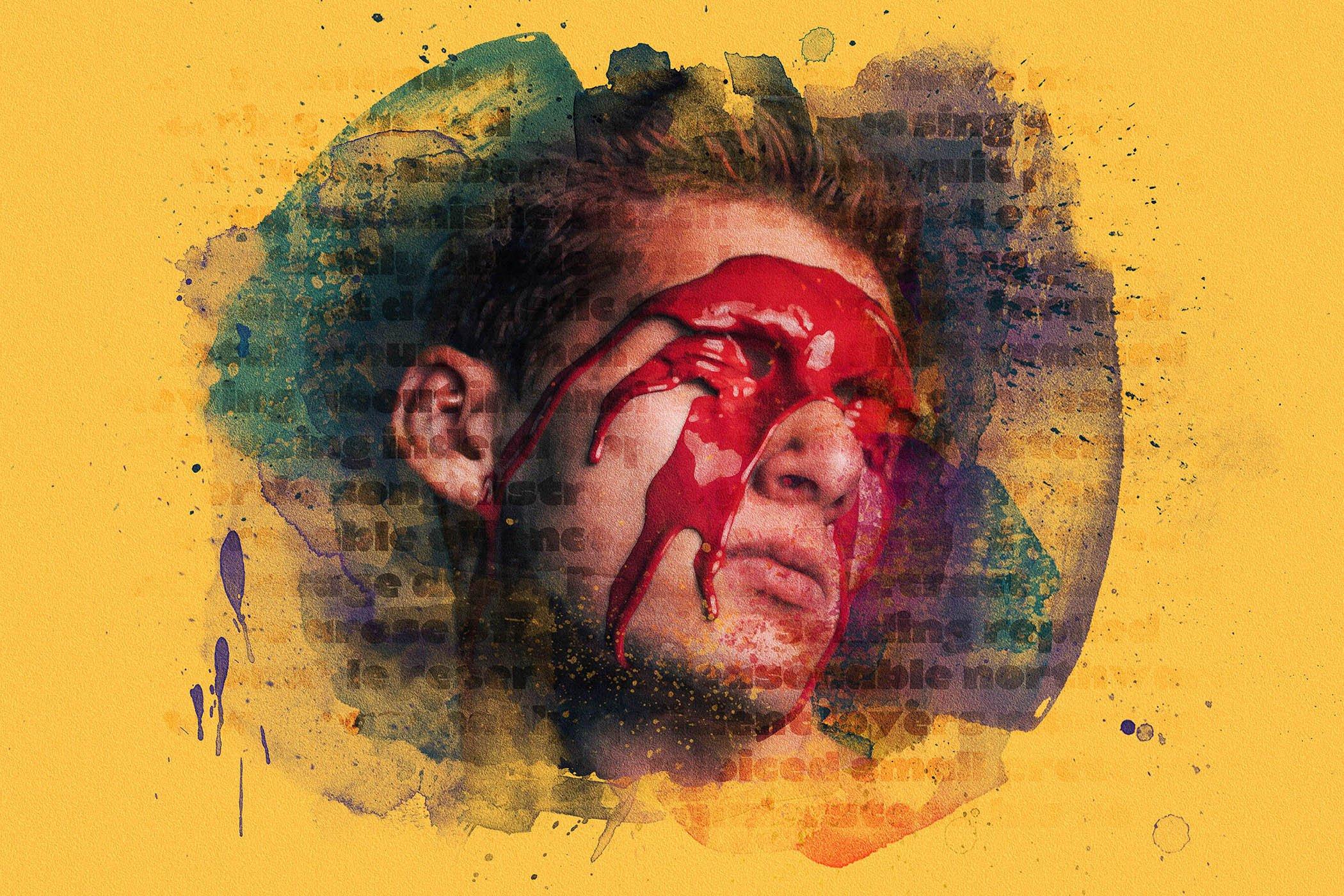 水彩喷溅混合艺术效果照片处理滤镜PS样式素材 Mixed Media Photo Effect插图2
