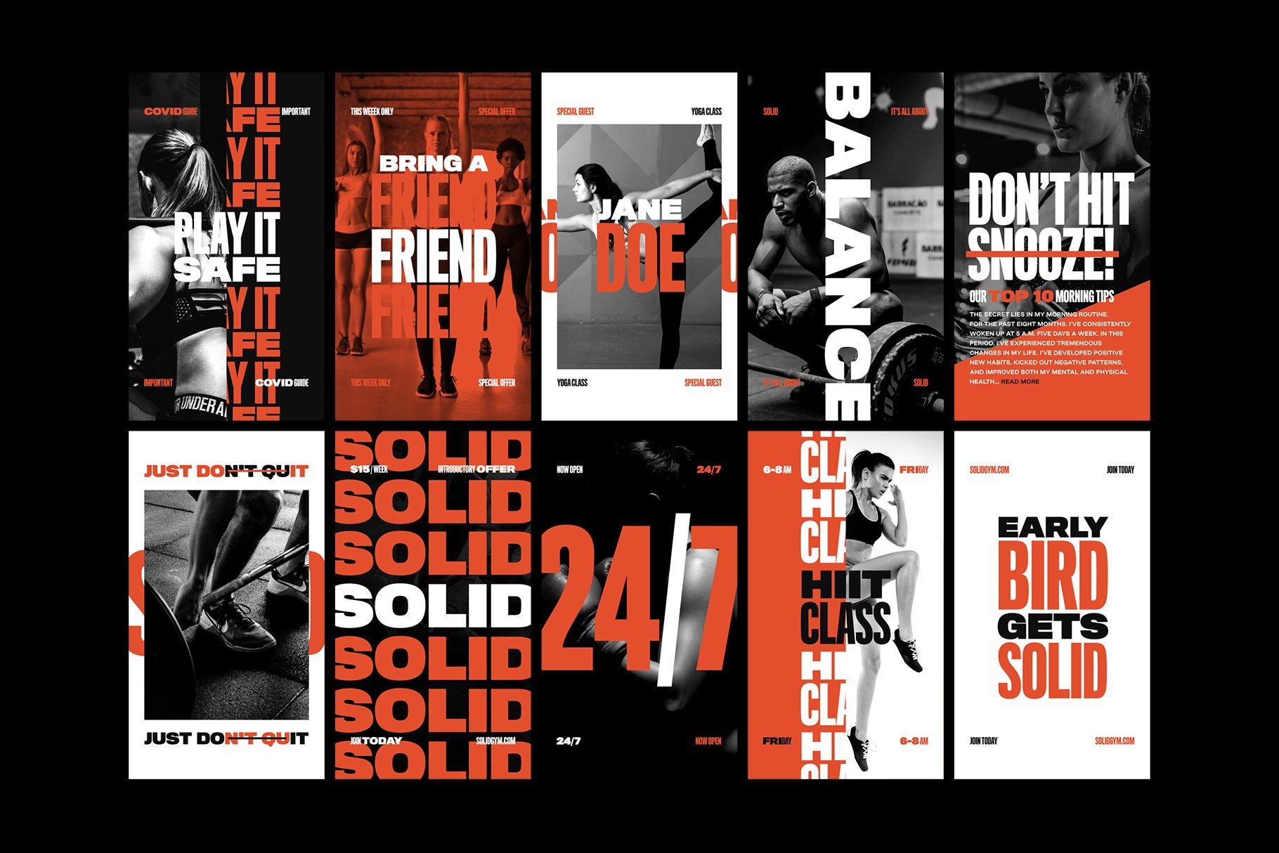 [单独购买] 现代时尚运动健身新媒体电商海报广告设计PS模板素材 Solid – Bold Instagram Stories插图2