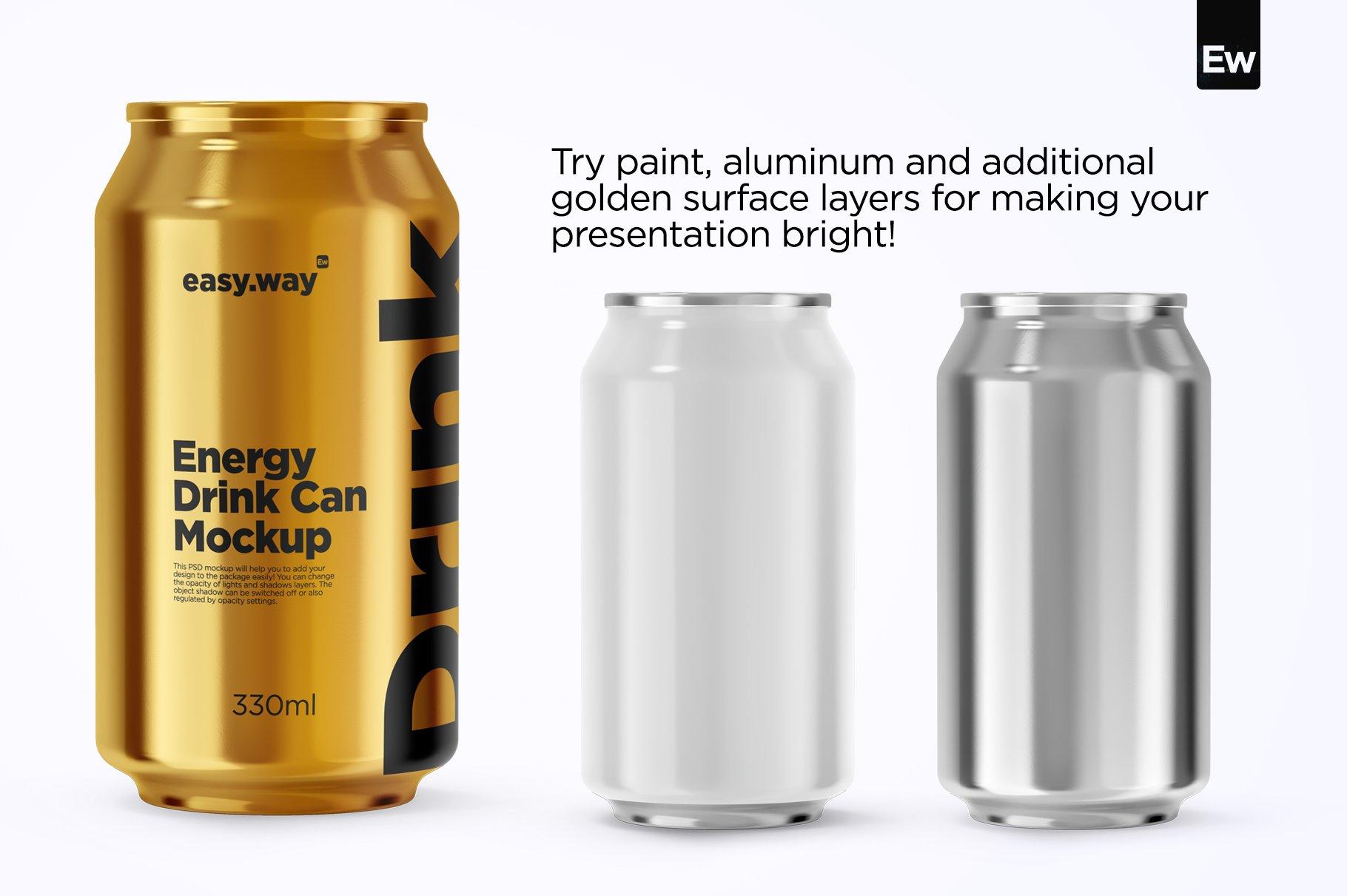 330毫升啤酒饮料苏打水锡罐易拉罐设计展示贴图PSD样机 330ml Aluminum Can PSD Mockup插图4