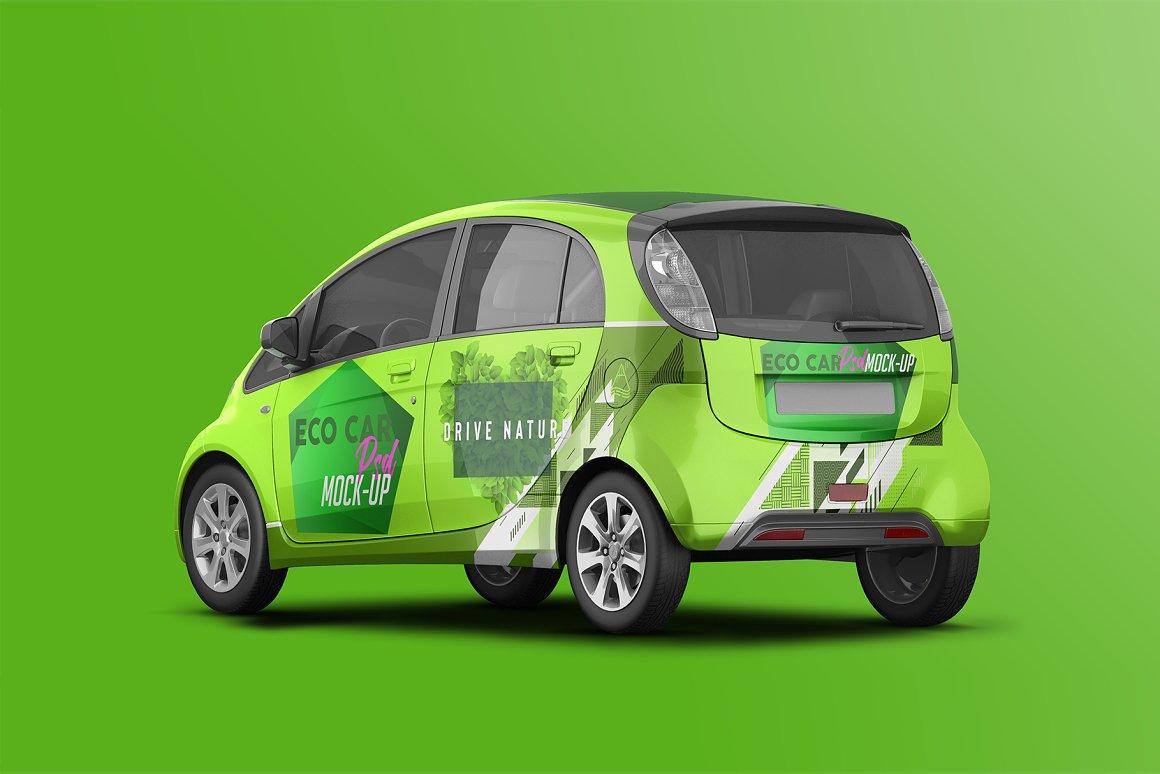 逼真电动小汽车车身广告设计PSD样机 Realistic Electric Car PSD Mockup插图2