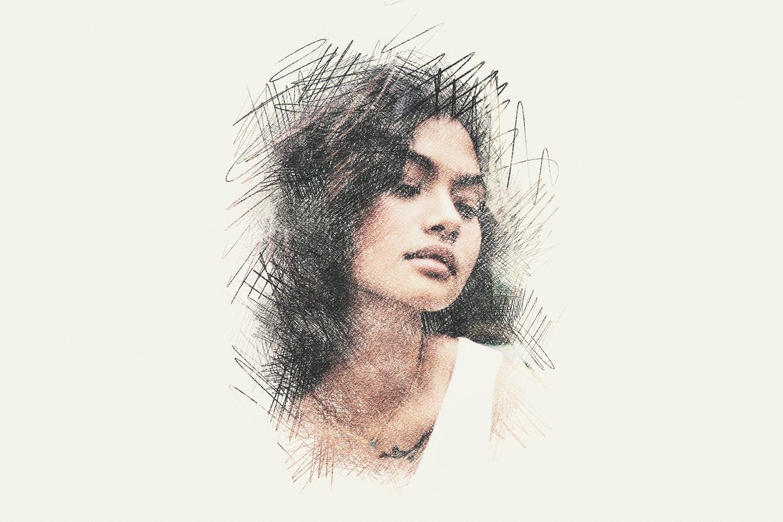 铅笔素描照片处理效果PS样机模板素材 Pencil Sketching Photo Effect插图1