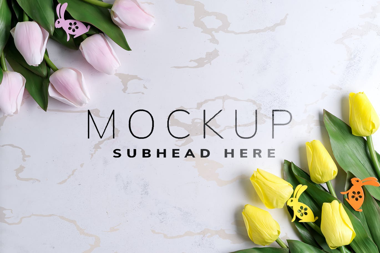 11个优雅婚礼印刷品场景样机PSD模板素材 Tulips Scene Mockup On Stone插图10