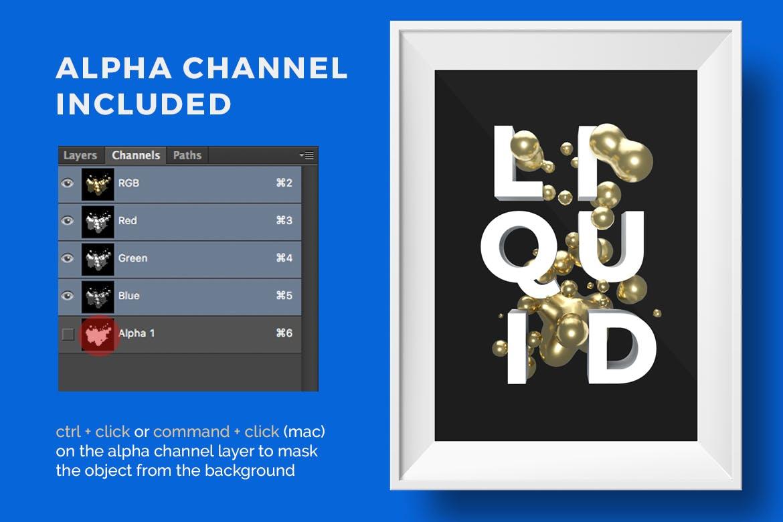 20款抽象金属液体水滴海报背景PS设计素材 Abstract Liquid Gold插图3