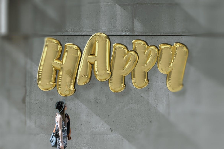 逼真铝箔气球文字海报设计PS样式模板素材 Foil Balloon Type插图2