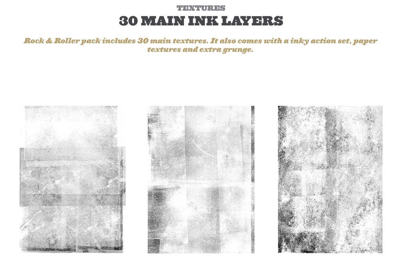 潮流复古做旧墨水套印浮雕效果标题海报设计PS素材套件 Rock And Roller Letterpress Kit插图2