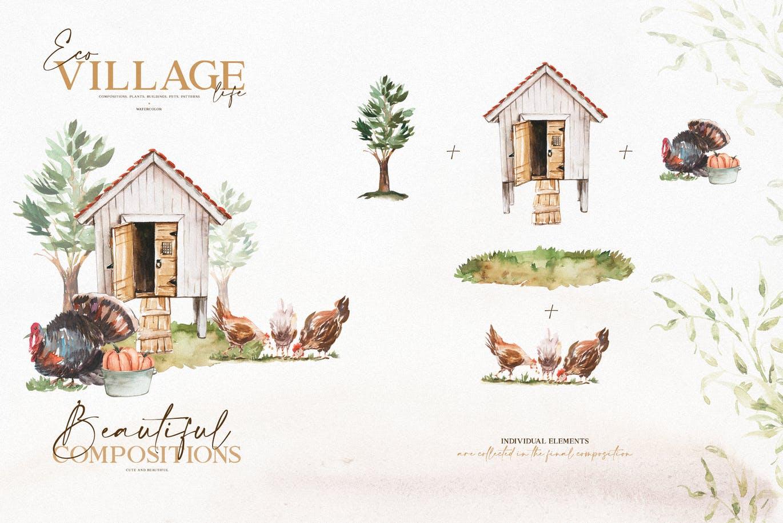 优雅感恩节主题农场动物植物手绘水彩画设计素材 Watercolor Eco Village插图2
