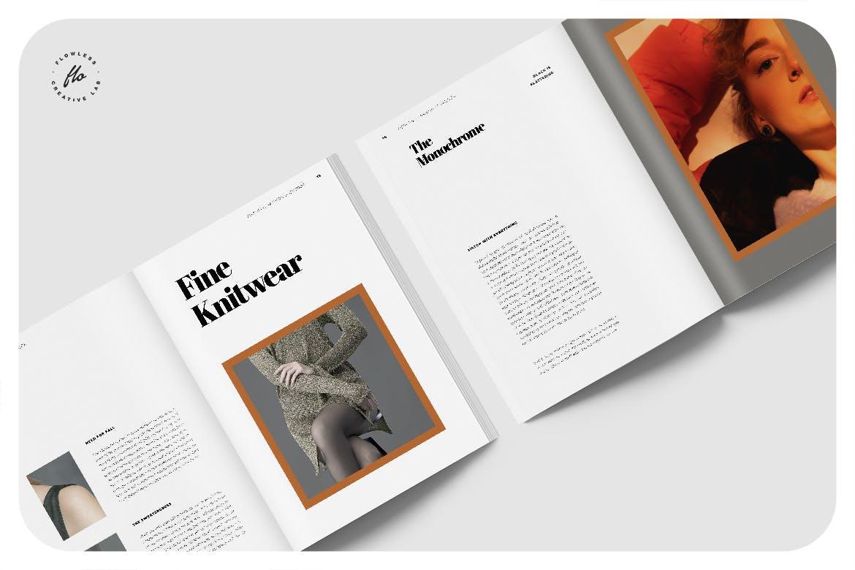 极简女性服装设计作品集排版INDD画册模板 Palateas Editorial Fashion Lookbook插图2