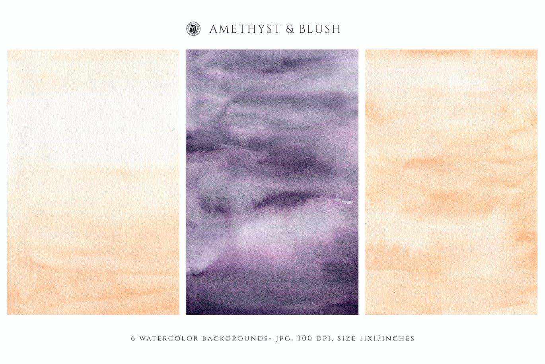 腮红水彩纹理背景图片设计素材 Watercolor Backgrounds – Blush插图2