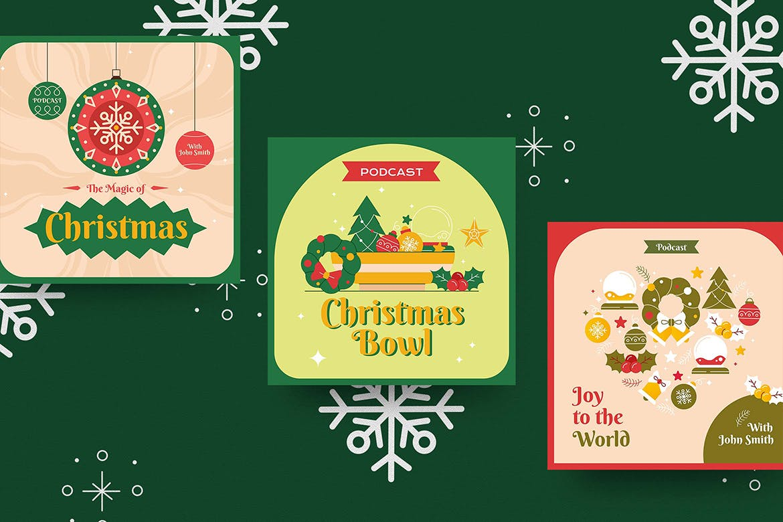 圣诞节主题品牌促销新媒体电商海报素材 Christmas Podcast Illustration插图2