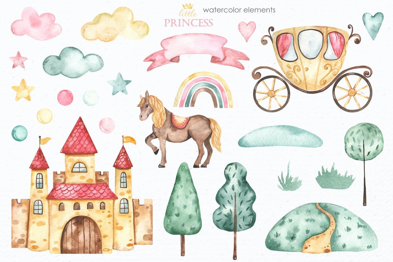 卡通女孩马车城堡彩虹手绘水彩画图片设计素材 Little Princess Watercolor插图2