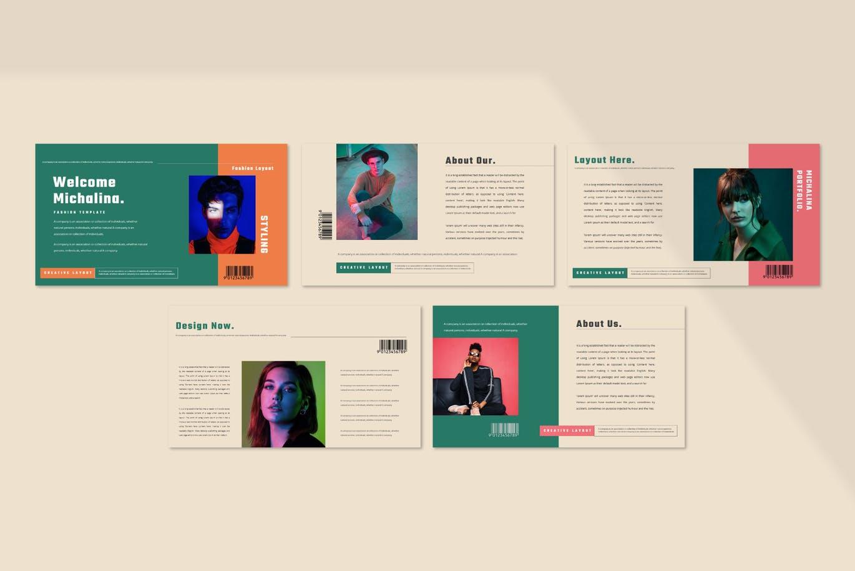 潮流撞色服装作品集演示文稿设计模板素材 MICHALINA Powerpoint Template插图2