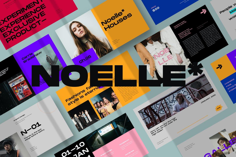 潮流炫彩服装作品集演示文稿设计模板 Noelle Powerpoint Template插图2