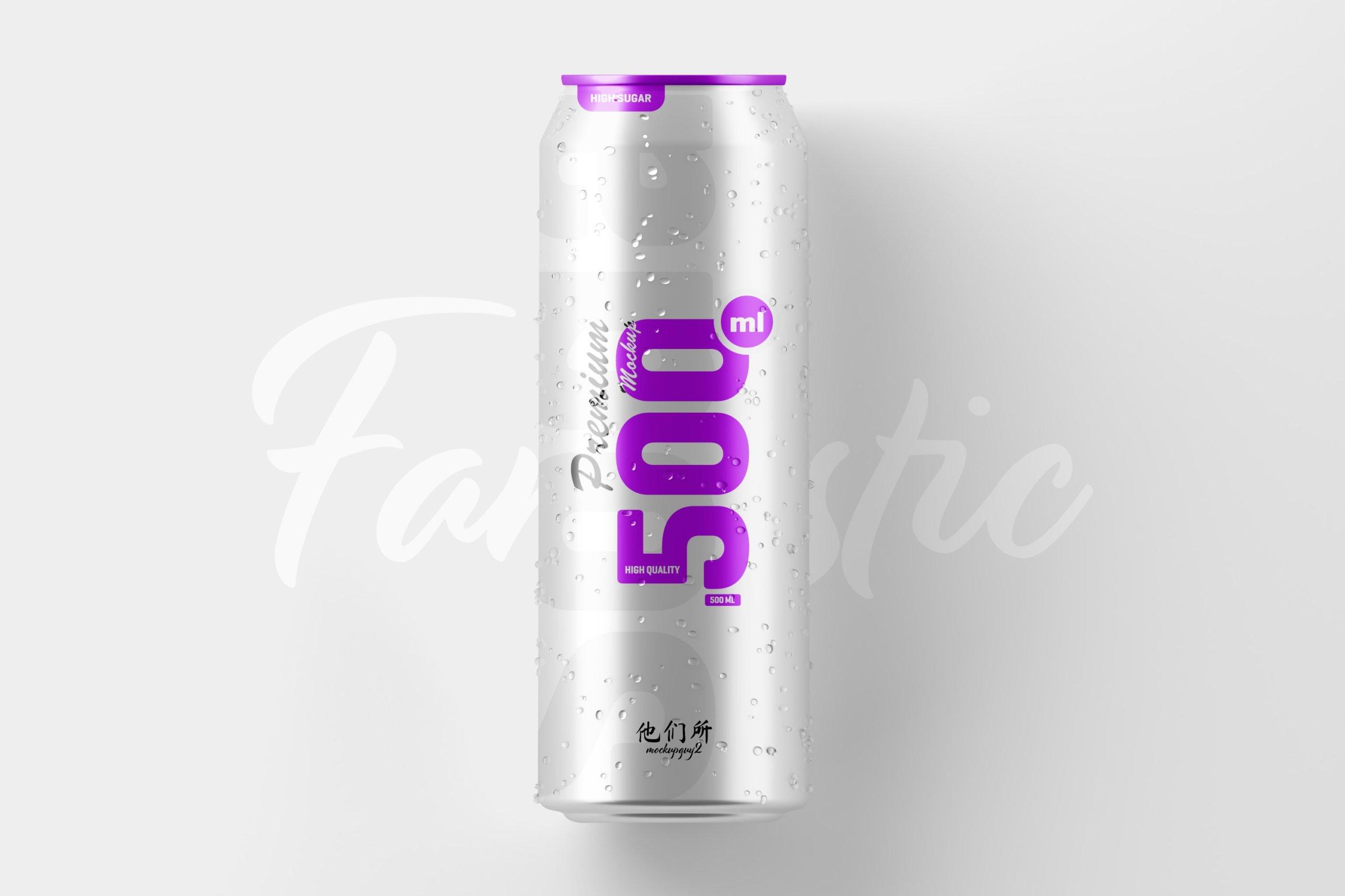 10款500毫升啤酒苏打水饮料锡罐易拉罐PS贴图样机素材 500ml Soda Can Mockup插图3