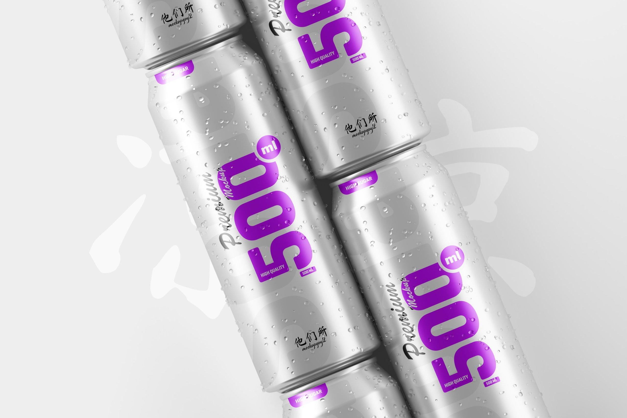 10款500毫升啤酒苏打水饮料锡罐易拉罐PS贴图样机素材 500ml Soda Can Mockup插图5