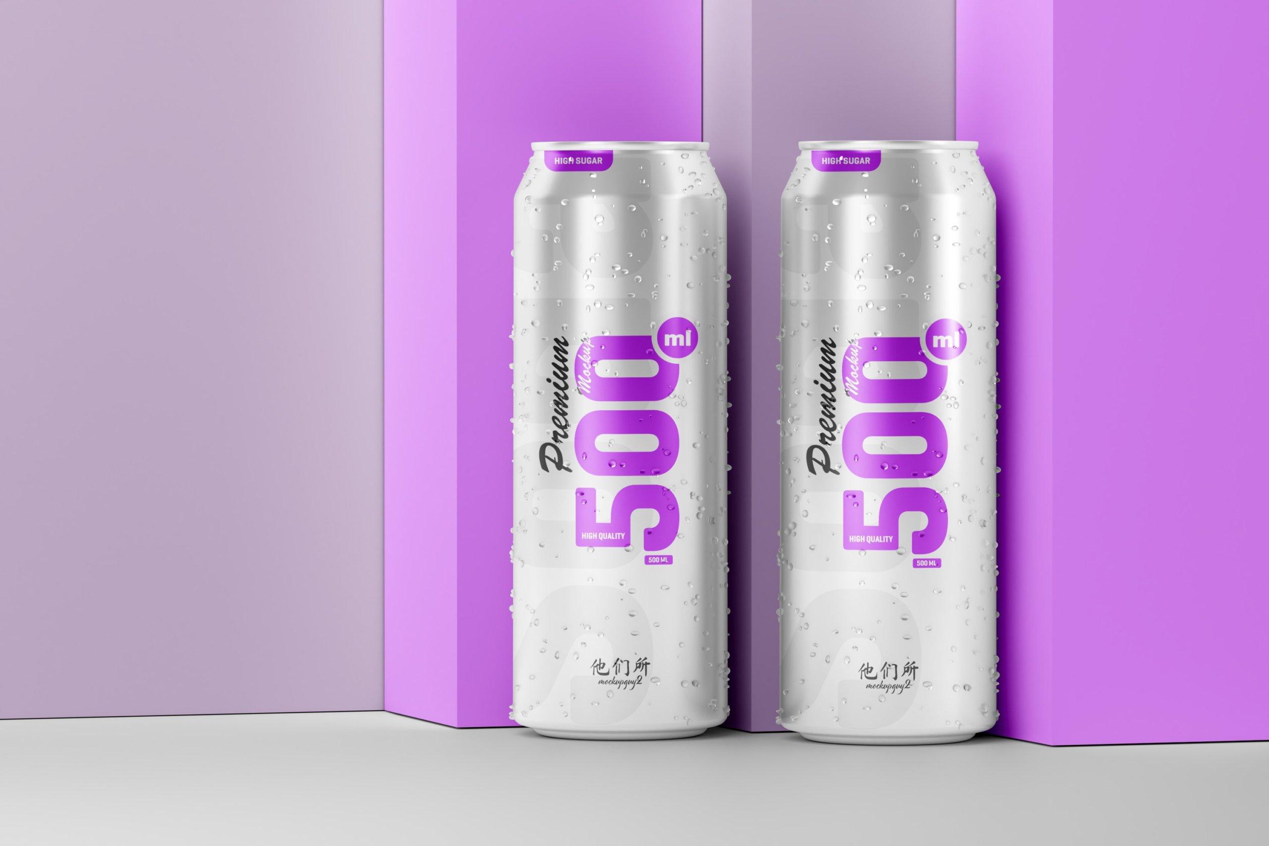10款500毫升啤酒苏打水饮料锡罐易拉罐PS贴图样机素材 500ml Soda Can Mockup插图10