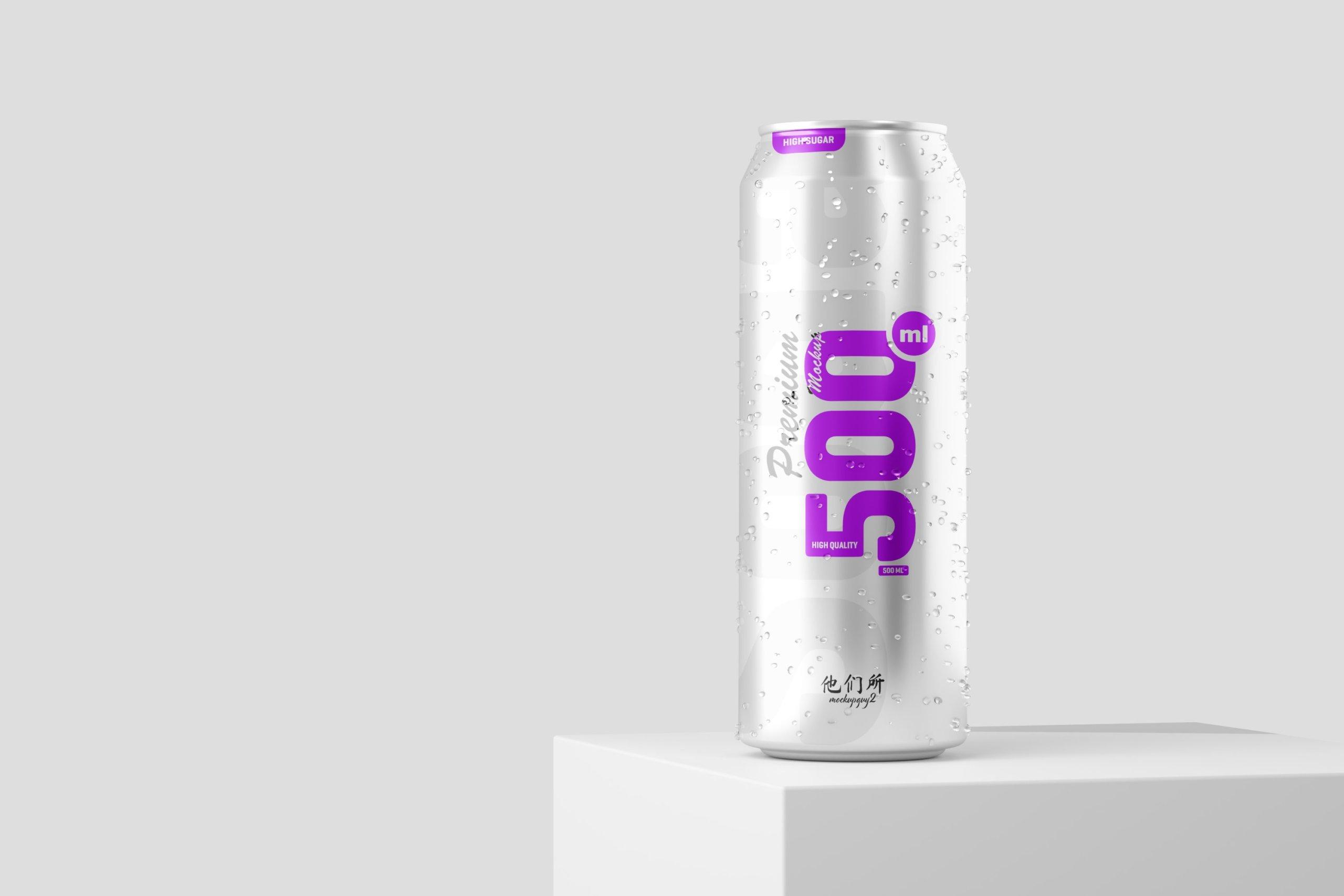 10款500毫升啤酒苏打水饮料锡罐易拉罐PS贴图样机素材 500ml Soda Can Mockup插图9