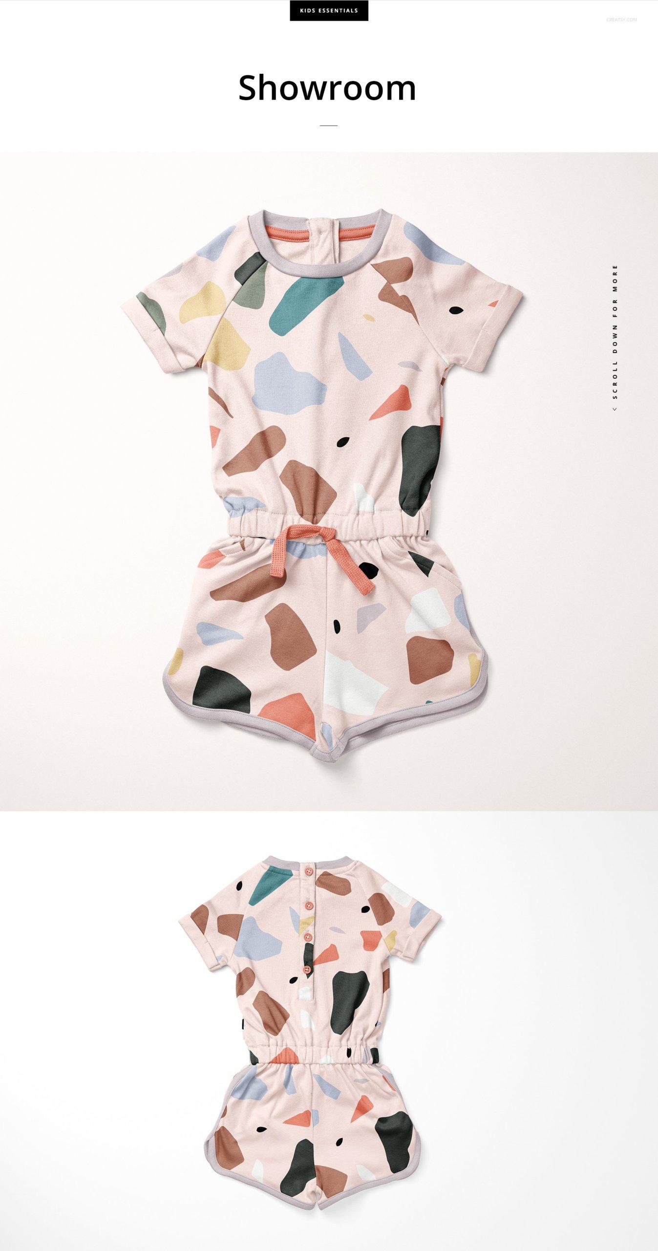 女婴棉质连身衣印花图案设计展示样机套装 Girls Cotton Playsuit Mockup Set插图3