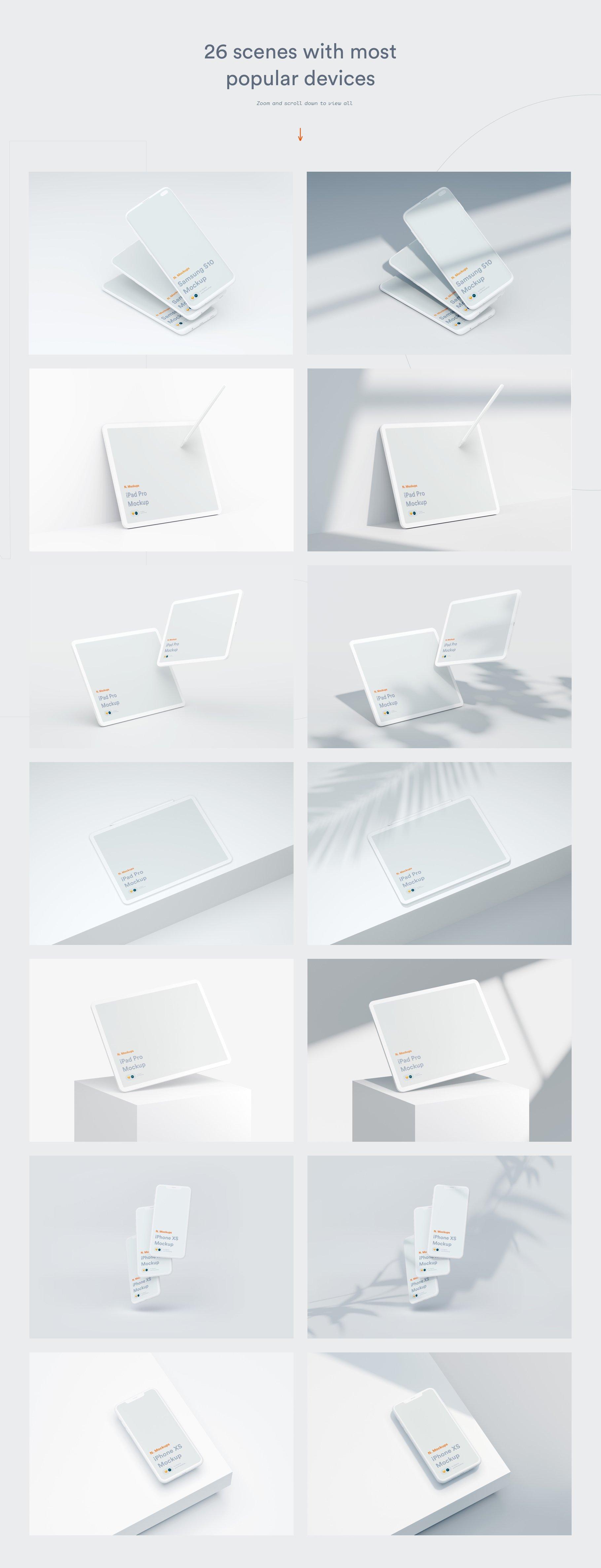 [单独购买] 超大网站APP设计陶瓷苹果设备屏幕演示样机模板素材套装 N.Mockups插图4
